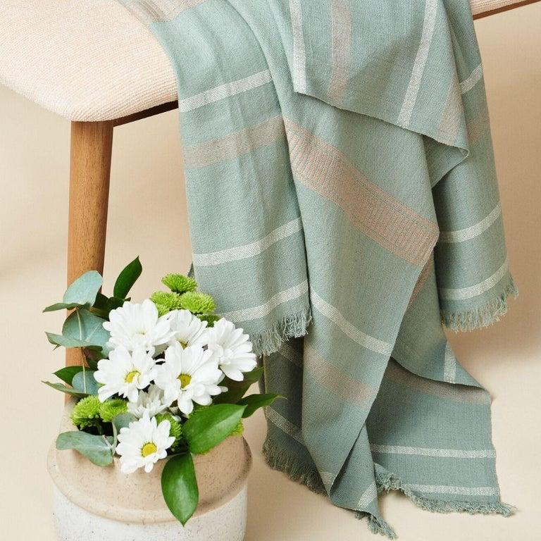 Yarn Sage Handloom Throw / Blanket In Organic Cotton In Soft Neutral Pastel Shades For Sale