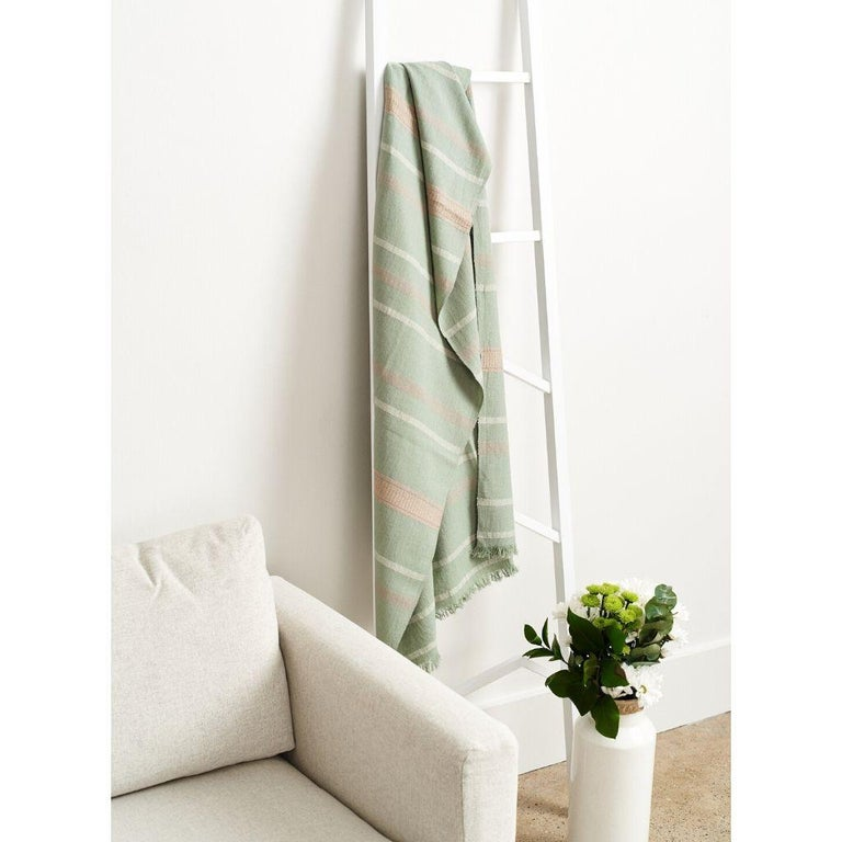 Sage Handloom Throw / Blanket In Organic Cotton In Soft Neutral Pastel Shades For Sale 1