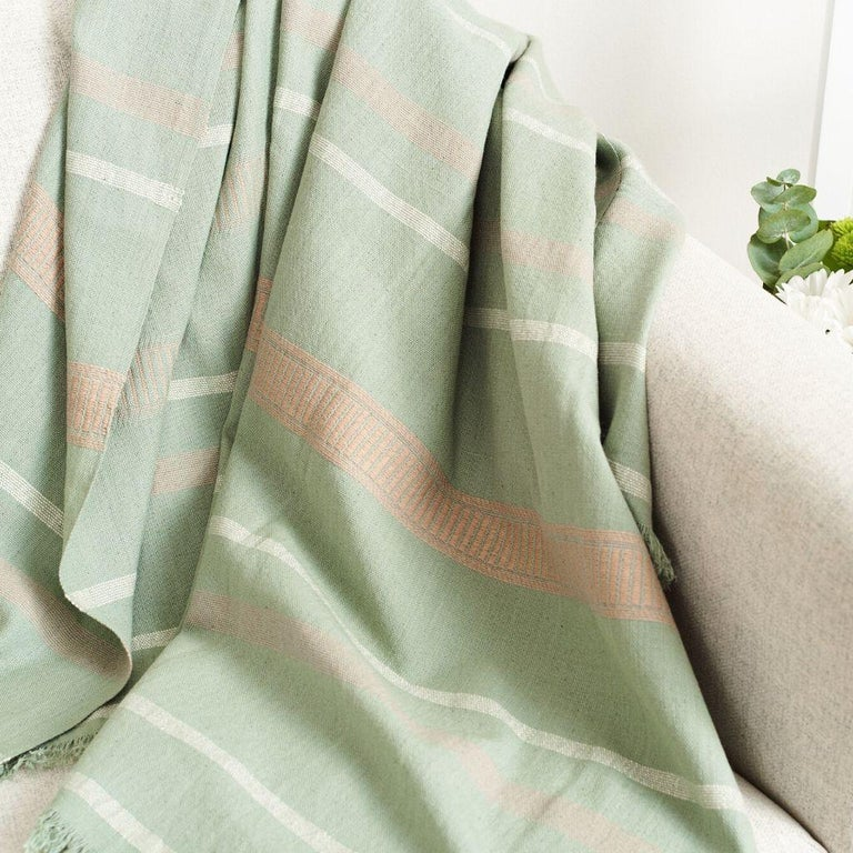 Sage Handloom Throw / Blanket In Organic Cotton In Soft Neutral Pastel Shades For Sale 2