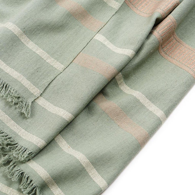 Sage Handloom Throw / Blanket In Organic Cotton In Soft Neutral Pastel Shades For Sale 3