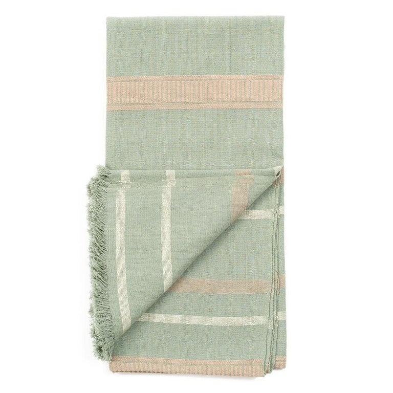 Hand-Woven Sage Handloom Throw / Blanket In Organic Cotton In Soft Neutral Pastel Shades For Sale