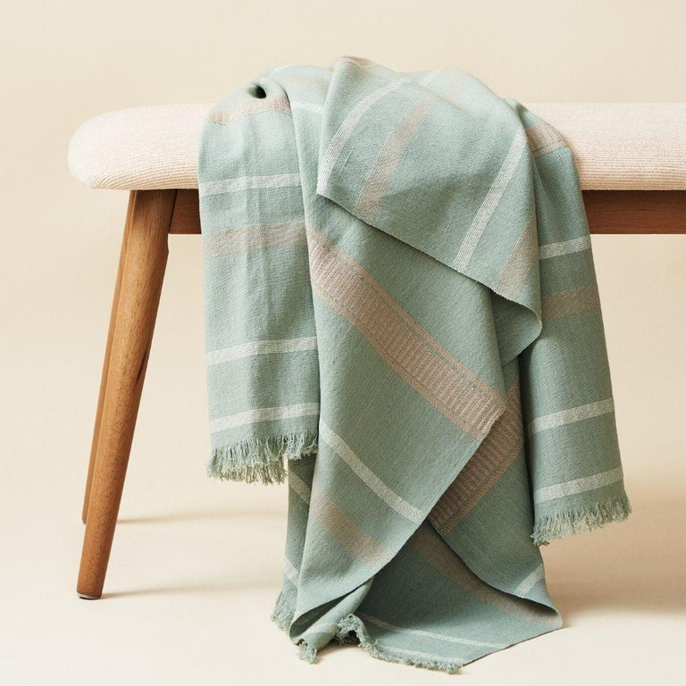Modern Sage Handloom Throw / Blanket In Organic Cotton In Soft Neutral Pastel Shades For Sale