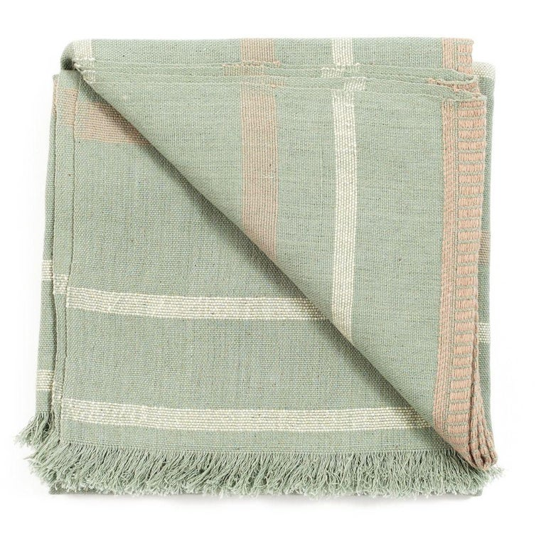Sage Handloom Throw / Blanket In Organic Cotton In Soft Neutral Pastel Shades In New Condition For Sale In Bloomfield Hills, MI