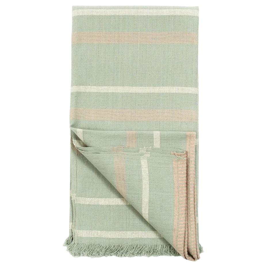 Sage Handloom Throw / Blanket In Organic Cotton In Soft Neutral Pastel Shades