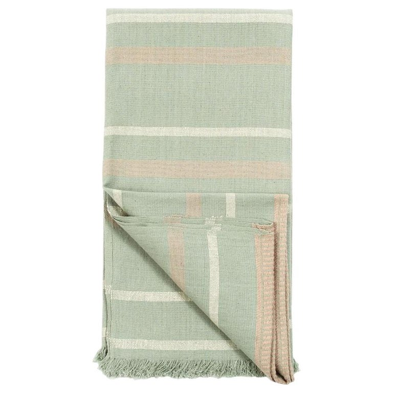Sage Handloom Throw / Blanket In Organic Cotton In Soft Neutral Pastel Shades For Sale
