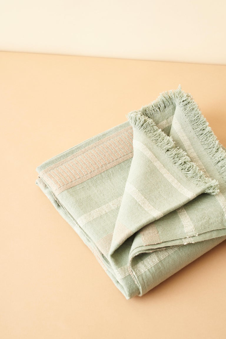 Sage Handloom Throw / Blanket In Organic Cotton In Soft Neutral Pastel Shades For Sale 5