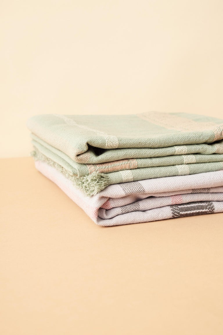 Sage Handloom Throw / Blanket In Organic Cotton In Soft Neutral Pastel Shades For Sale 6