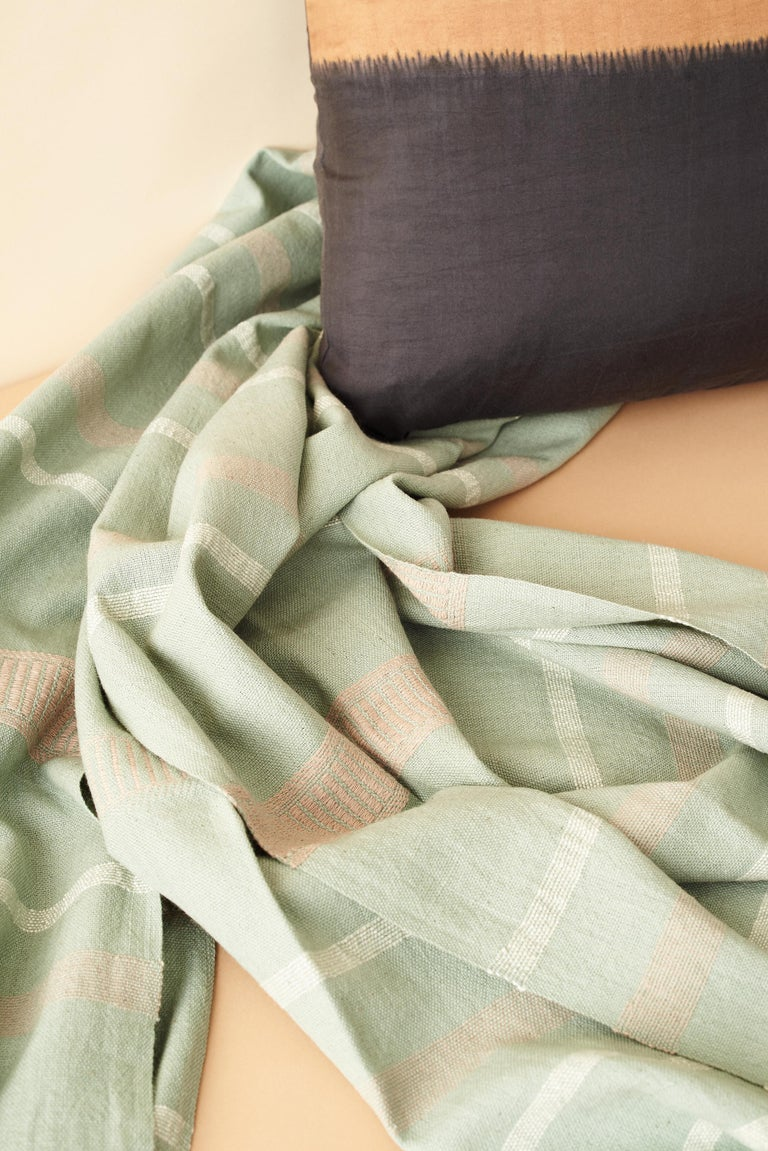 Sage Handloom Throw / Blanket In Organic Cotton In Soft Neutral Pastel Shades For Sale 7