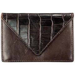 SAGEBROWN Alligator Embossed Panel Leather Card Holder Wallet