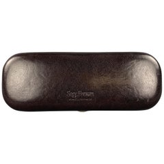 SAGEBROWN Dark Brown Leather Logo Embossed Eyewear Case