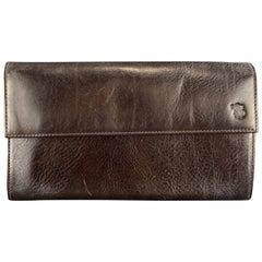 SAGEBROWN Solid Deep Brown Leather Mini Organizer Wallet