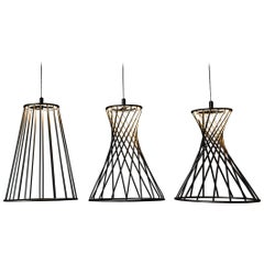 Sagrada Pendants Set Of 3 Lighting Fixtures Powdercoated Textured Gold By Mtharu