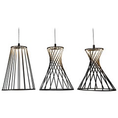 Sagrada Pendants Set of Three Lighting Fixtures Powdercoated by Mtharu