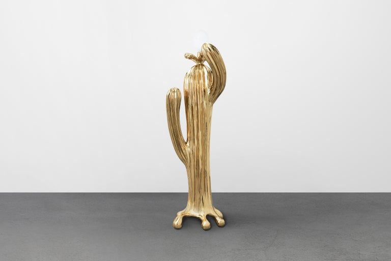 Chinese Saguaro No.1 Floor Lamp Polished Brass Gold by Zhipeng Tan For Sale