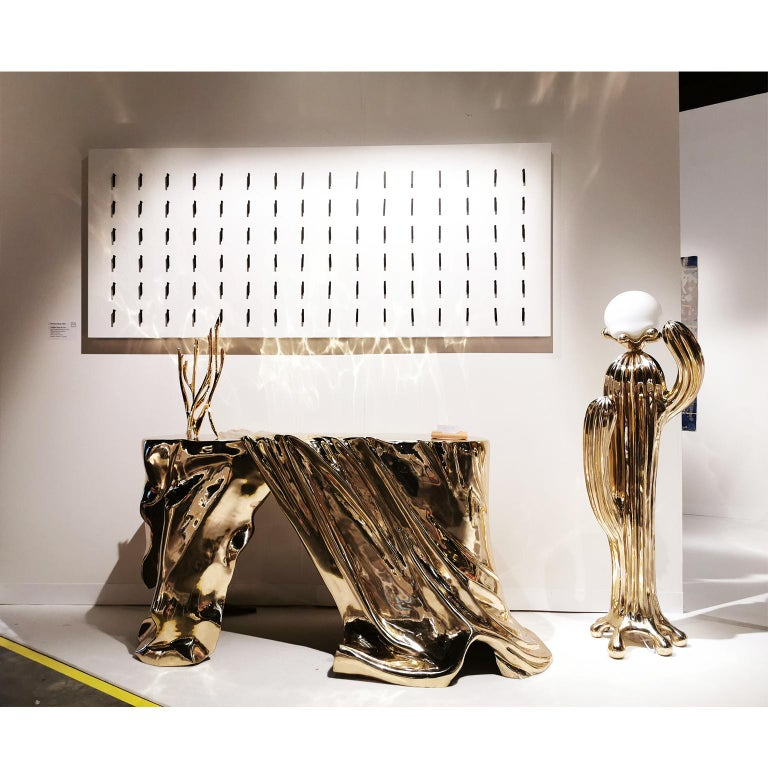 Contemporary Saguaro No.1 Floor Lamp Polished Brass Gold by Zhipeng Tan For Sale