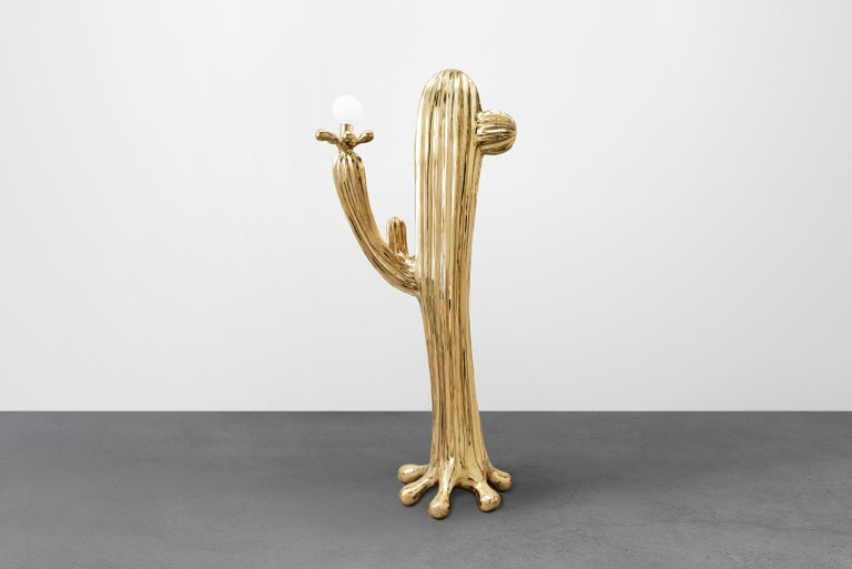 Chinese Saguaro No.2 Floor Lamp Polished Brass Gold by Zhipeng Tan For Sale