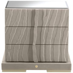Sahara Nightstand in Leather w/ Top & Side in Natural Mirror by Roberto Cavalli