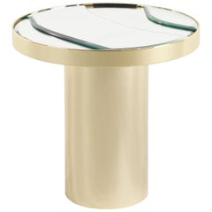 Sahara Side Table with Gold Finish Metal Base and Mirror Top by Roberto Cavalli