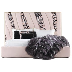 Sahara.4 Bed in Fabric and Leather by Roberto Cavalli