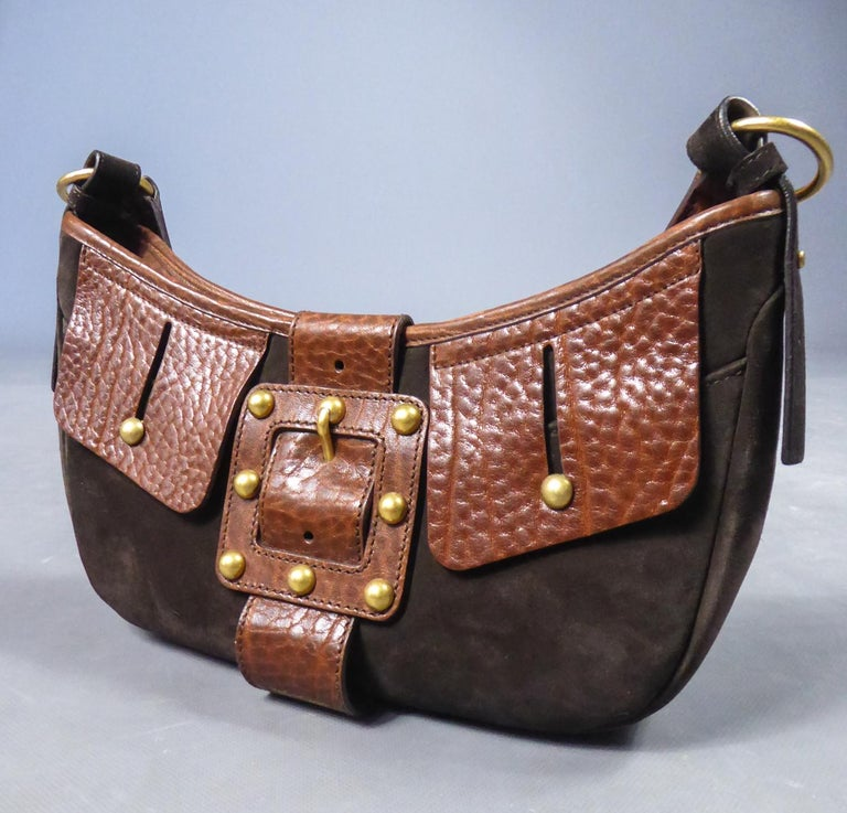 Saharienne bag in leather and suedeYves Saint Laurent Rive Gauche Circa 1995 For Sale 6