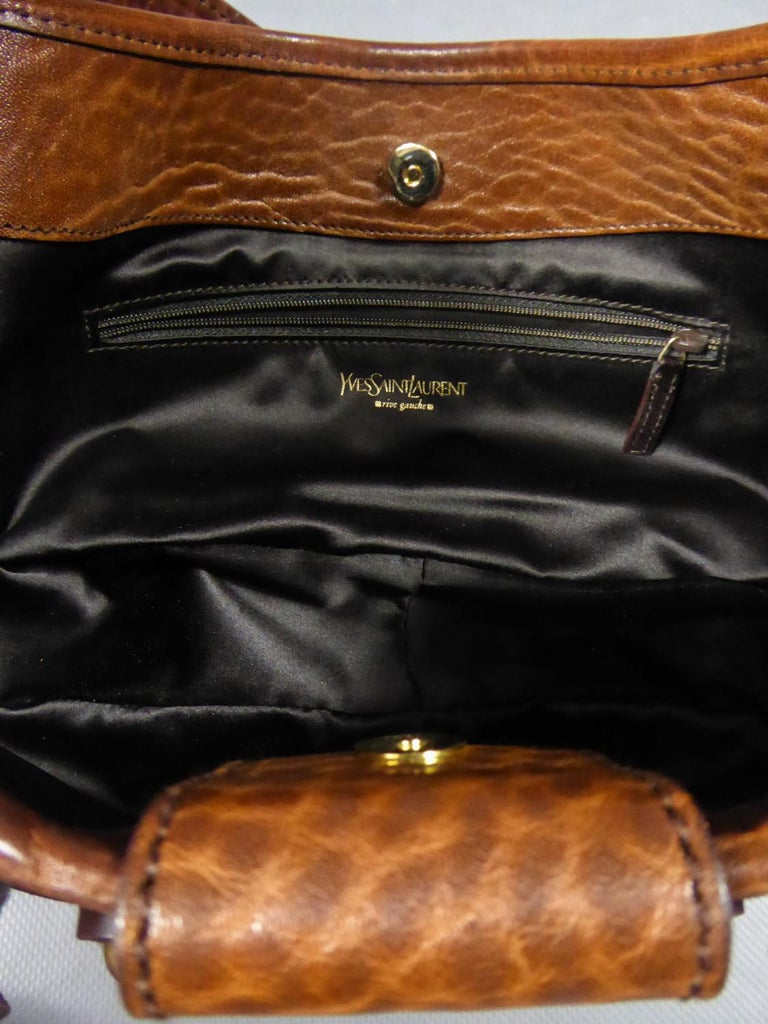 Saharienne bag in leather and suedeYves Saint Laurent Rive Gauche Circa 1995 For Sale 9