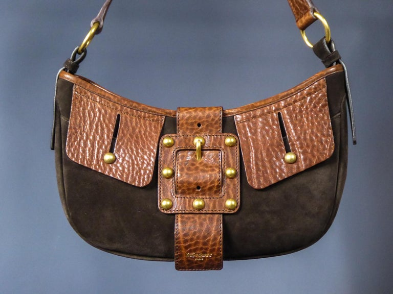 Brown Saharienne bag in leather and suedeYves Saint Laurent Rive Gauche Circa 1995 For Sale