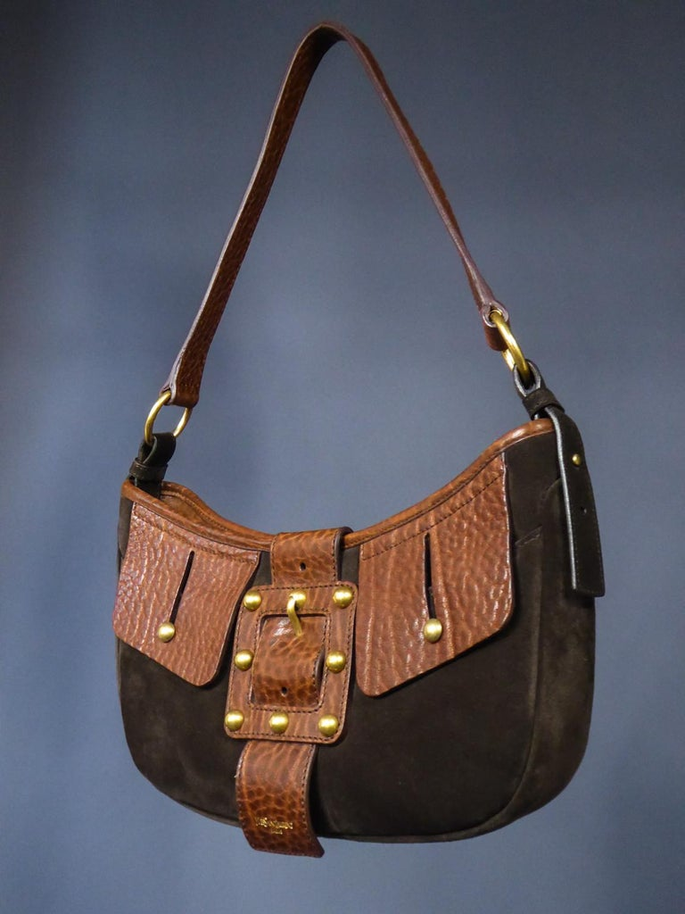 Women's Saharienne bag in leather and suedeYves Saint Laurent Rive Gauche Circa 1995 For Sale