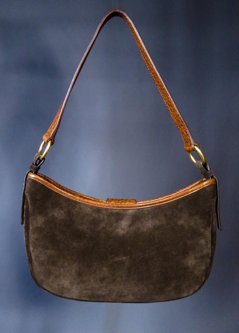 Saharienne bag in leather and suedeYves Saint Laurent Rive Gauche Circa 1995 For Sale 2