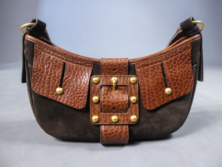 Saharienne bag in leather and suedeYves Saint Laurent Rive Gauche Circa 1995 For Sale 4