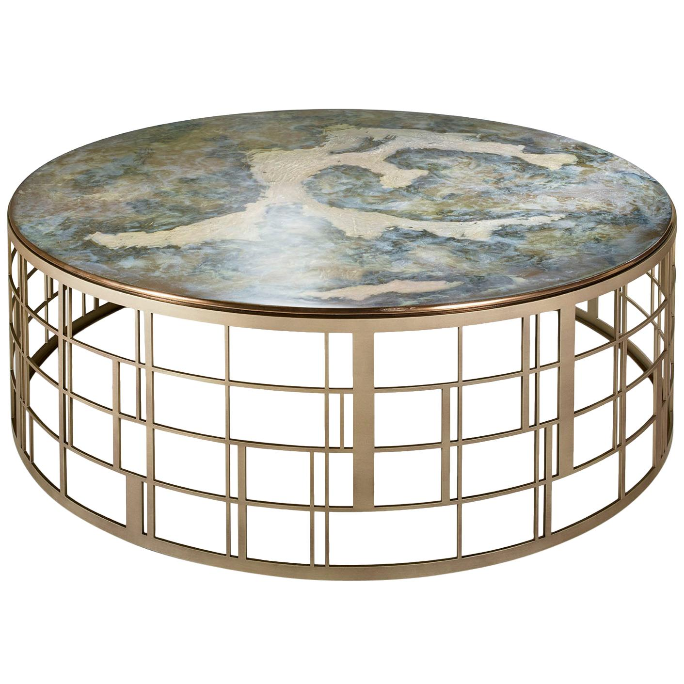 Said Table Stainless Steel Liquid Metal Champagne or Bronze Finish Top Vetrite