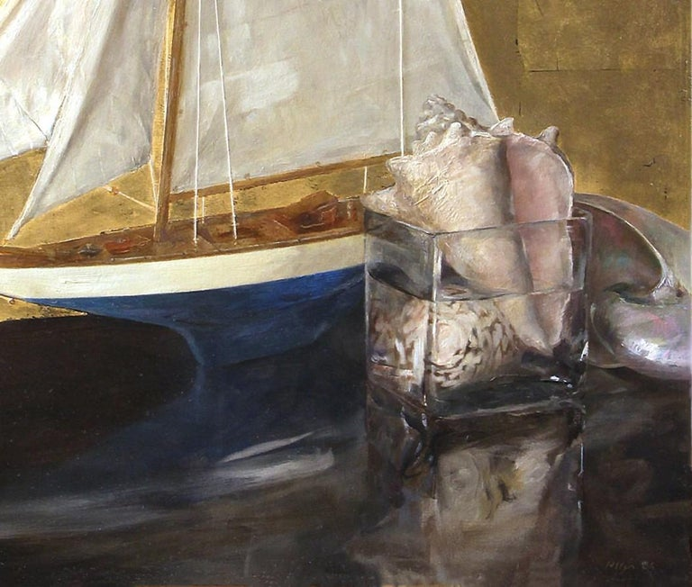 Modern Sail Boat and Nautilus, Model Boat and Sea Shells, Oil and Gold Leaf on Panel For Sale
