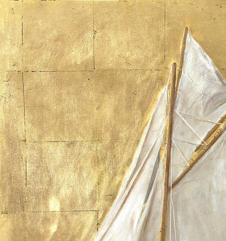 American Sail Boat and Nautilus, Model Boat and Sea Shells, Oil and Gold Leaf on Panel For Sale