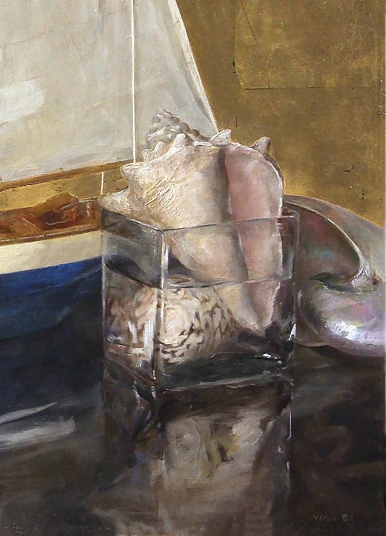Hand-Painted Sail Boat and Nautilus, Model Boat and Sea Shells, Oil and Gold Leaf on Panel For Sale