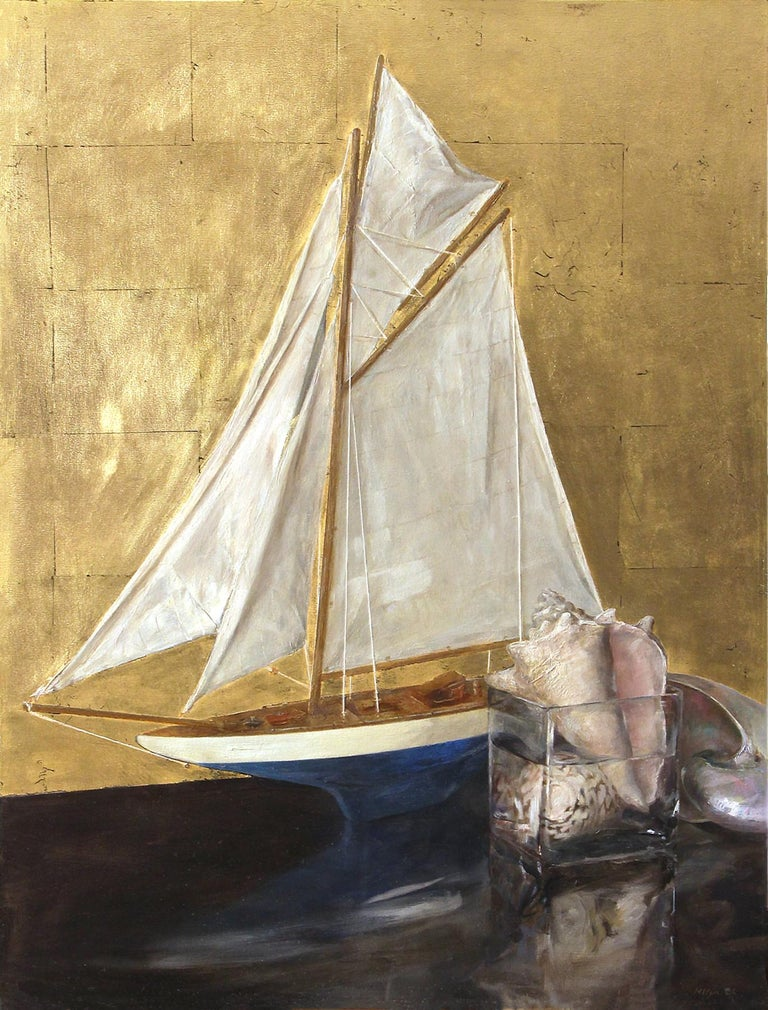 Sail Boat and Nautilus, Model Boat and Sea Shells, Oil and Gold Leaf on Panel In New Condition For Sale In Chicago, IL