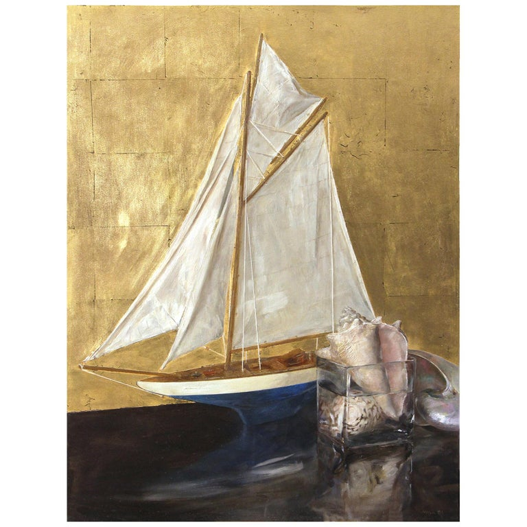 Sail Boat and Nautilus, Model Boat and Sea Shells, Oil and Gold Leaf on Panel For Sale