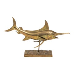 Sail Fish Sculpture in Brass