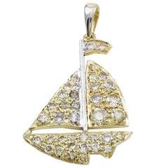 Sailboat Gold and Diamond Charm