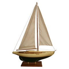 Sailboat Model, Painted Wood Body, 1930s