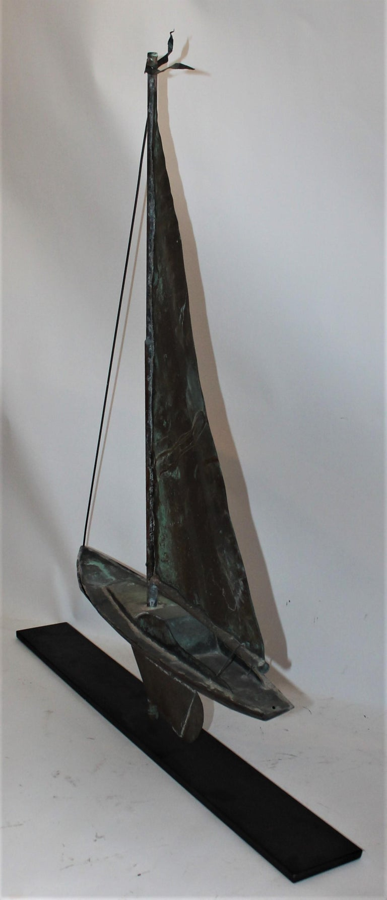 Sail boat weather vane from early 1900s in patinated 