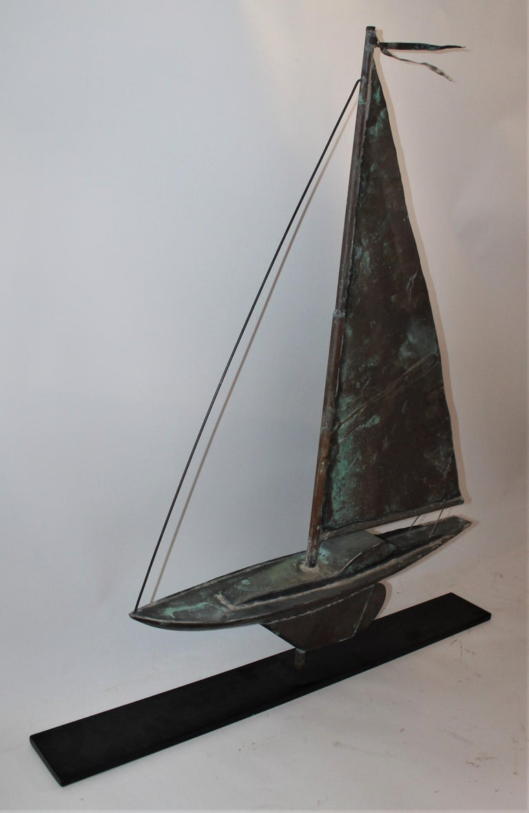 Country Sailboat Weather Vane on Iron Stand For Sale