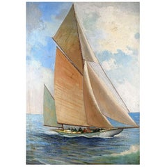 """Sailing Ship with White Sails"" Oil on Board, Mid-20th Century"