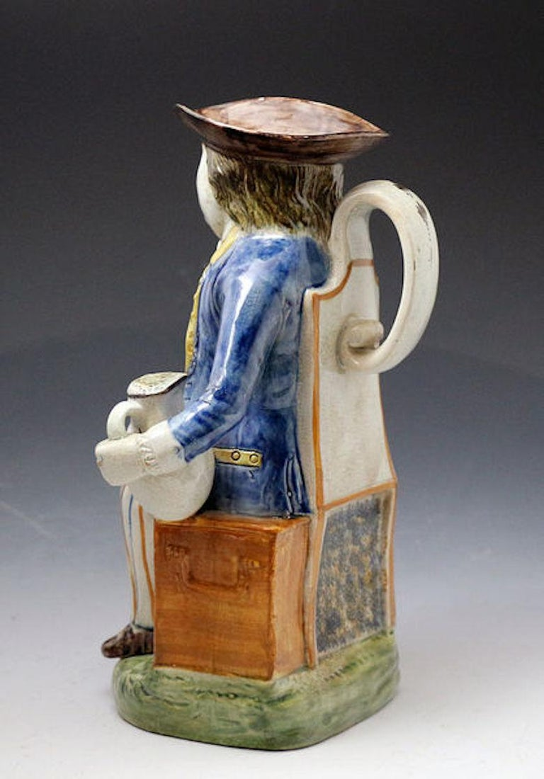 Sailor Model Toby Jug Prattware Staffordshire Pottery Late 18th Century In Good Condition For Sale In Woodstock, OXFORDSHIRE