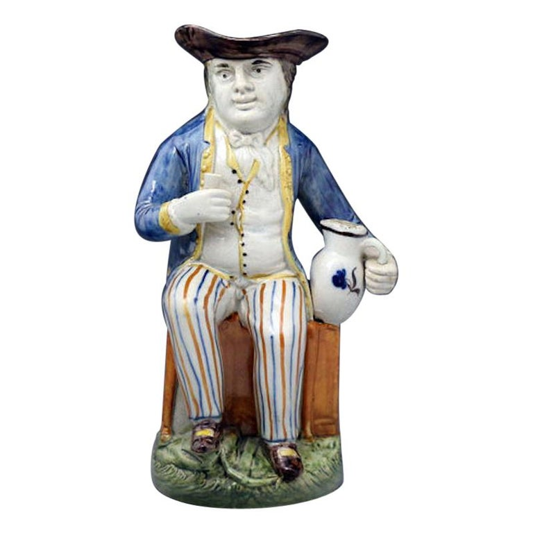 Sailor Model Toby Jug Prattware Staffordshire Pottery Late 18th Century For Sale