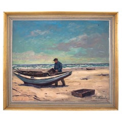 """""""Sailor on the Shore"""" Canvas Painting"""