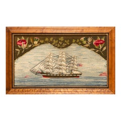 Sailor's Woolwork of an American Ship Under Full Sail, Circa 1875