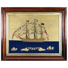 Sailor's Woolwork of HMS Neptune Fully Dressed with Sailors on the Yardarms