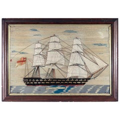 Sailor's Woolwork Picture of a Ship, Hms Hero, circa 1870