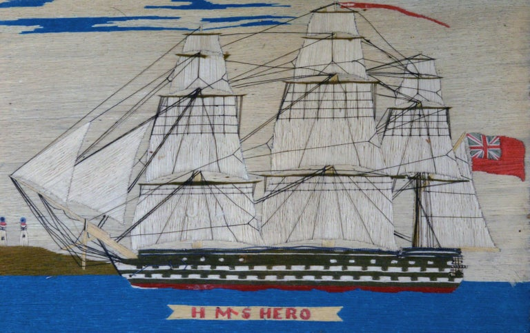 Sailor's woolwork picture of HMS Hero,