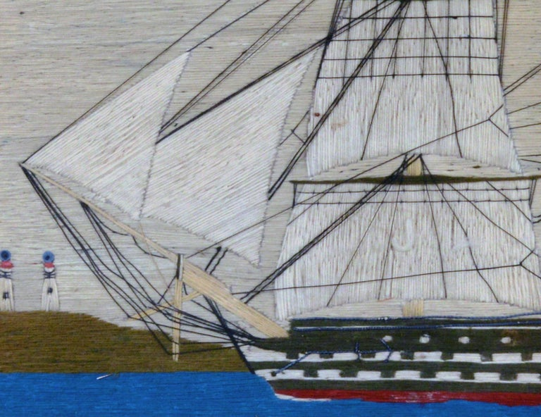 Folk Art Sailor's Woolwork Picture of HMS Hero, circa 1760-1764 For Sale