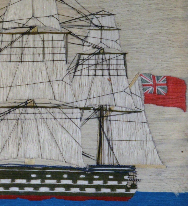 English Sailor's Woolwork Picture of HMS Hero, circa 1760-1764 For Sale